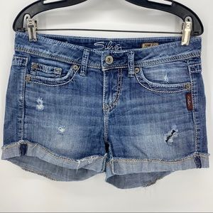 "Silver Jeans- Distressed Denim Toni 3.5"" Shorts"